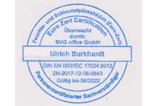 ISO 17024 zertifizierter Schimmelpilze Sachverständiger Tübingen - Stempel