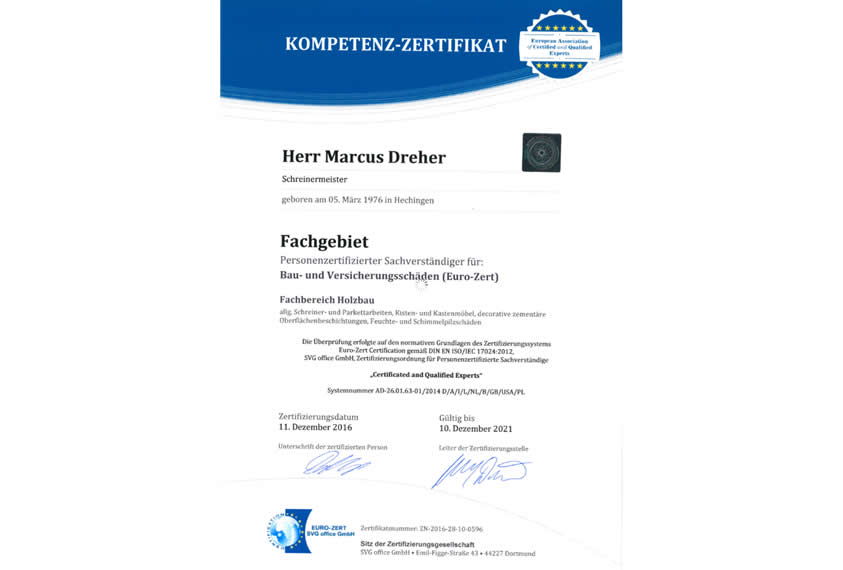 Personenzertifizierter Schreiner Gutachter - Zertifikat
