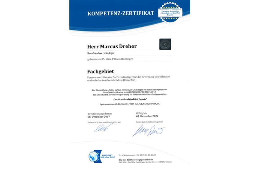 Personenzertifizierter Immobiliengutachter - Zertifikat