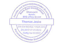 ISO 17024 zertifizierter Schimmelpilze Sachverständiger Berlin - Stempel