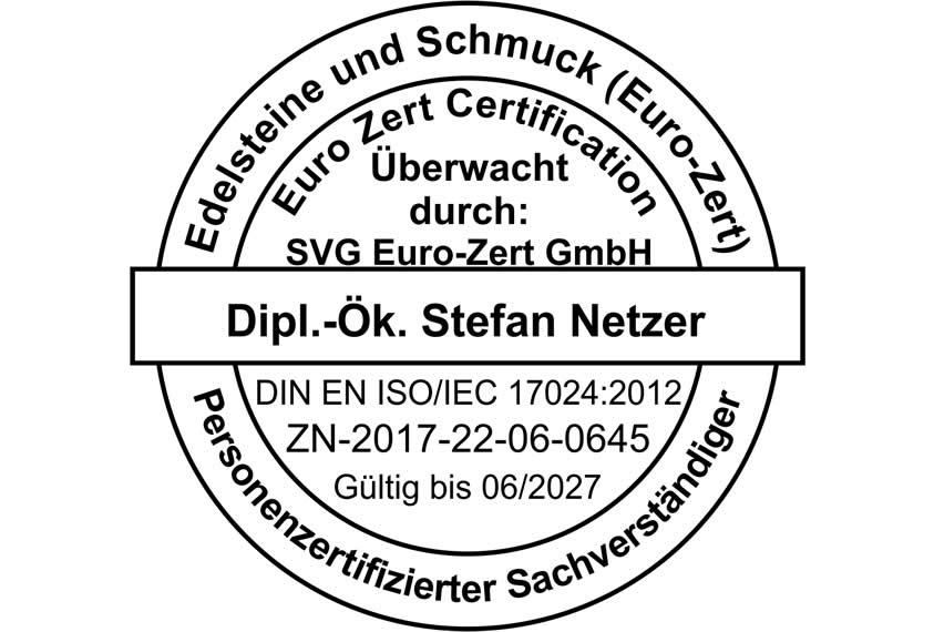 ISO 17024 zertifizierter Schmuckgutachter - Stempel