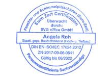 ISO 17024 zertifizierter Schimmelpilze Sachverständiger Mainz- Stempel