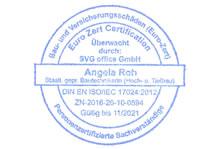ISO 17024 zertifizierter Schäden an Gebäuden Sachverständiger Mainz- Stempel
