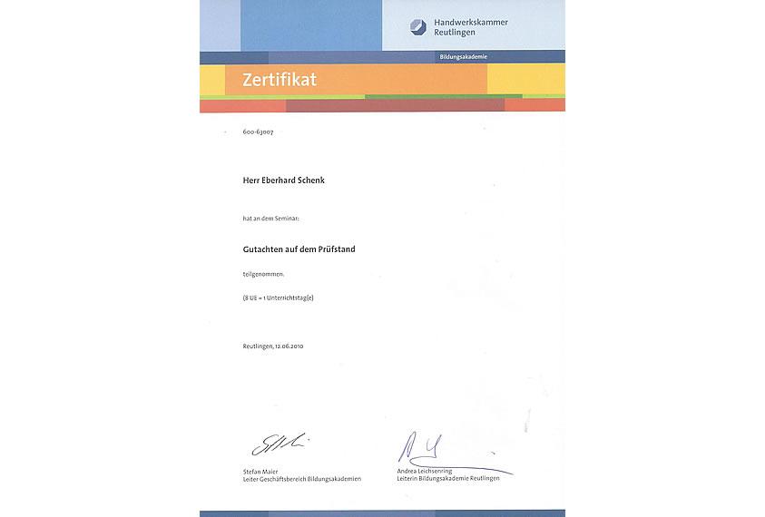 Zertifikat Handwerkskammer Reutlingen