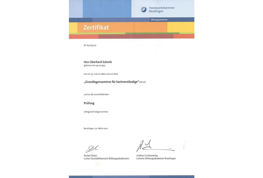 Zertifikat Handwerkskammer Reutlingen 2