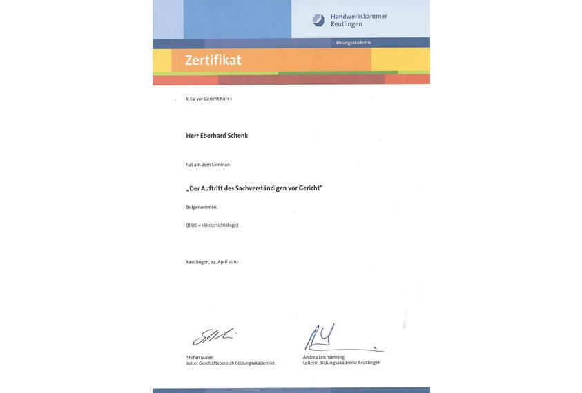 Zertifikat Handwerkskammer Reutlingen 3
